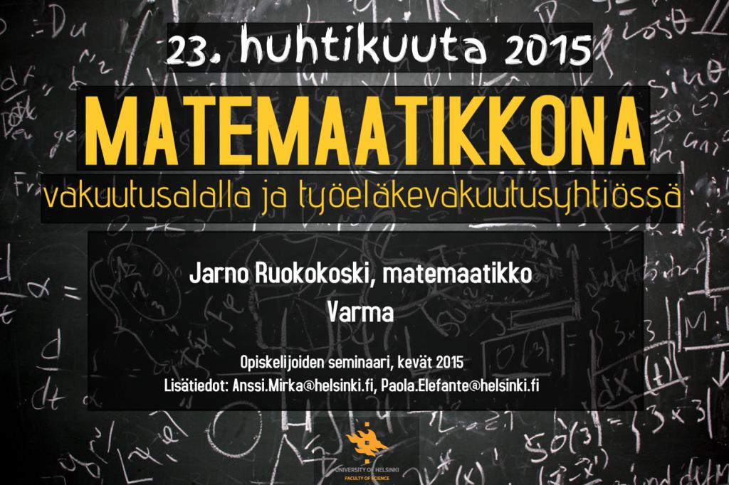 Poster of the event. April 23rd, room CK112, Exactum building, Kumpulan Kampus.
