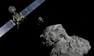 Rosetta and the comet - image from theguardian.com