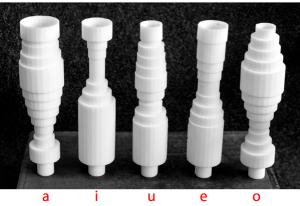 3D printed models of glottal shape for vowels. Source: University of Helsinki.